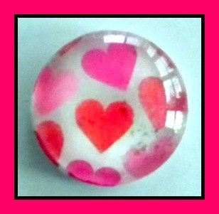Magnet - Hearts - 1 Inch Glass Circle - Valentine's Day
